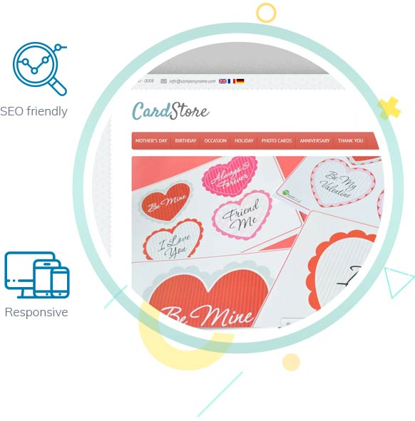 Greeting Card Design Storefront Features
