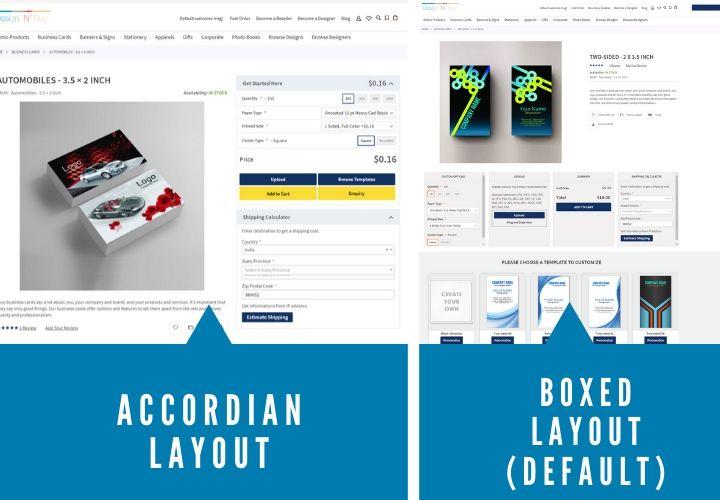 Landing page layouts