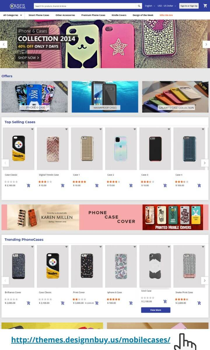 Magento 2 theme for mobile cases