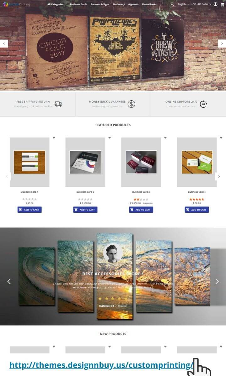 Magento 2 theme for canvas printing