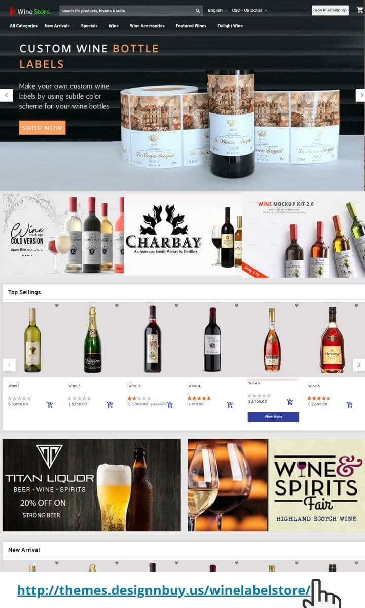 Magento 2 theme for wine labels
