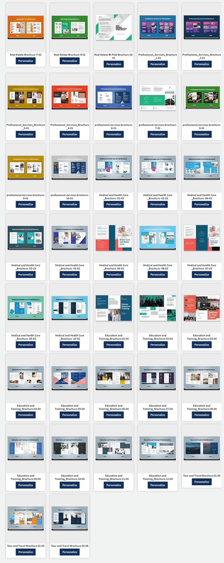 Brochure template categories