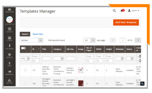 manage templates and layout
