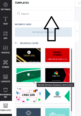 search option for templates