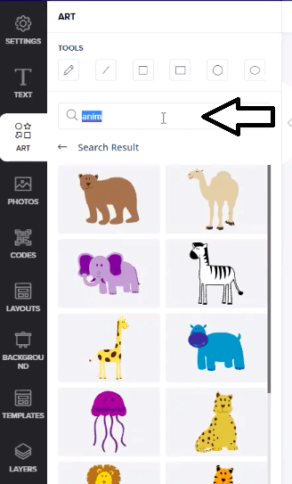 search option for clipart